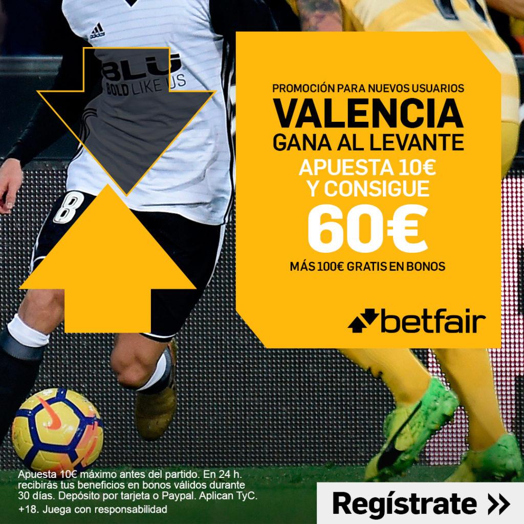 Valencia gana al Levante a cuota 6.0