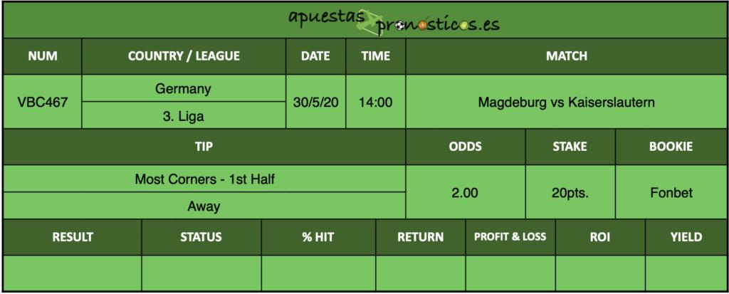 Nuestro pronostico para el partido Magdeburg vs Kaiserslautern en el que se aconseja Most Corners - 1st Half - Away.
